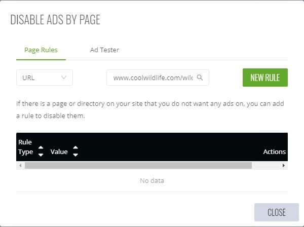Ezoic Disable Ads By Page