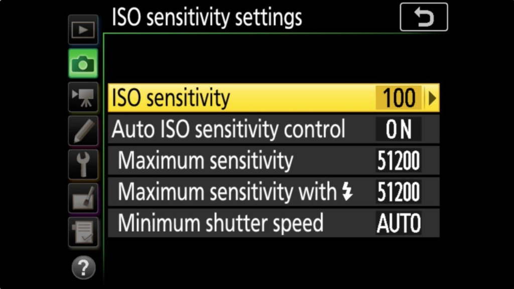 Nikon ISO Sensitivity Setting