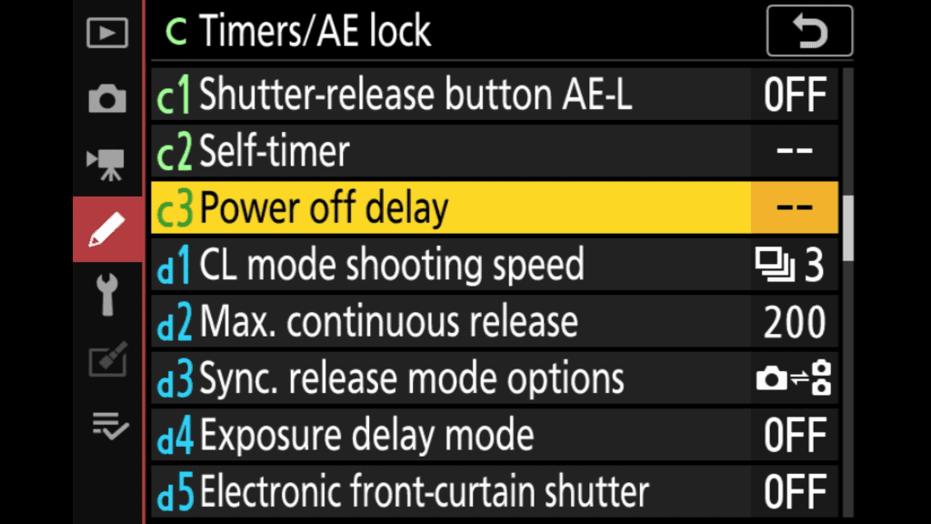 Nikon z6II Power Off Delay