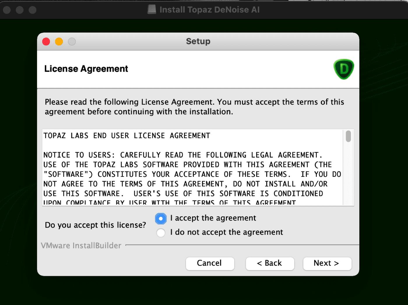 Topaz Denoise AI Workflow LIcense Agreement